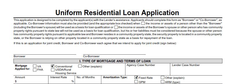 uniform residential loan application instructions