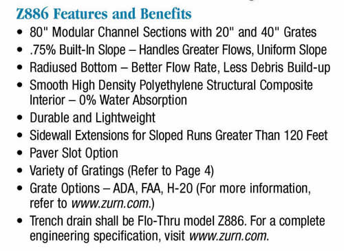 zurn z886 trench drain installation instructions