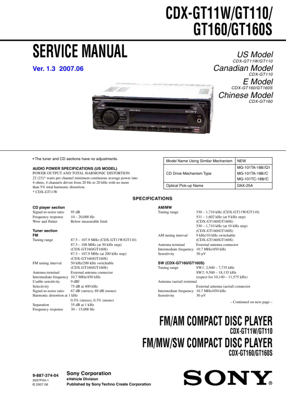 sony xplod instruction manual